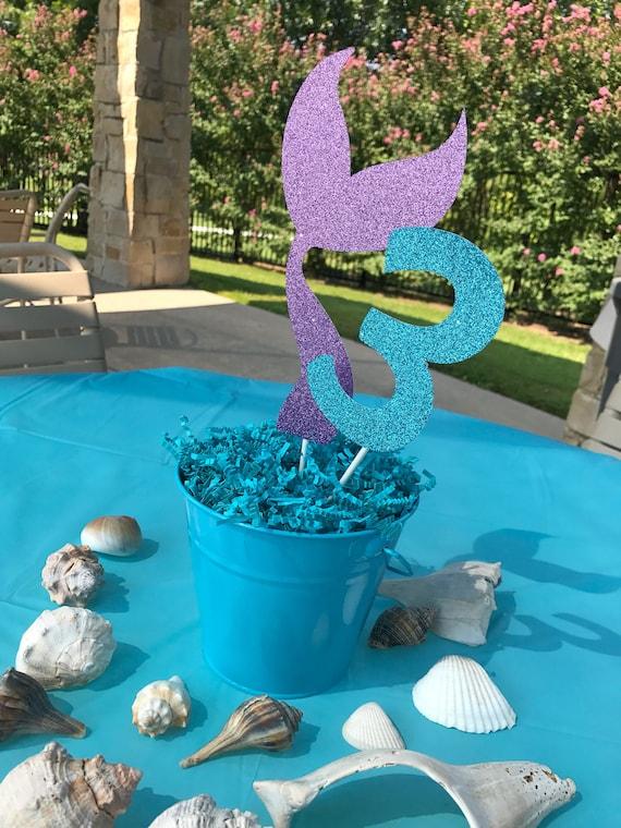 Mermaid Tail Centerpiece Sticks Birthday Decor Table Decorations Party