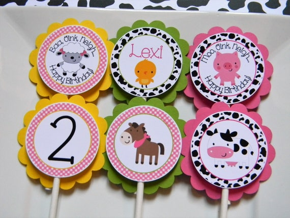 Girl Farm Birthday Party Personalized Cupcake Toppers