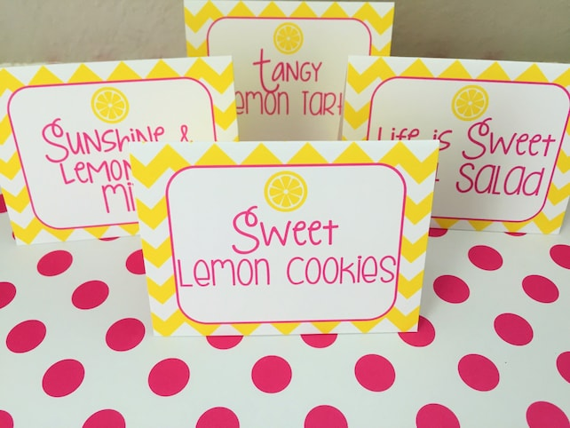 Pink Lemonade Birthday Party Personalized Printed Food Labels Tent Cards - Placecards - Pink Lemonade Party Decorations - Set of 8