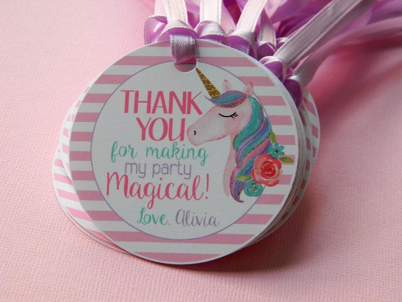 Unicorn 1st Birthday Unicorn Thank You Tags Unicorn Favor Tags