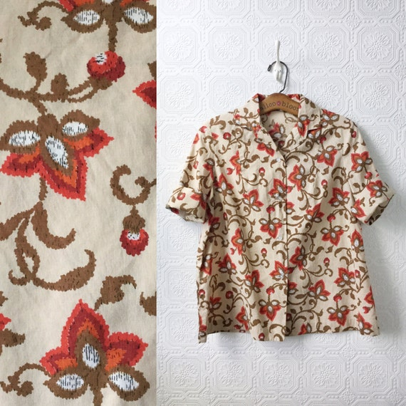 1950's Button-down Shirt, Cotton, Beige with Red,