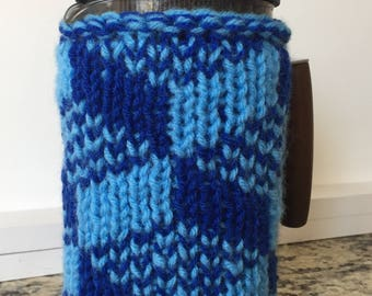 Double-thick, Extra Warm French Press Cozy, Blue Escher Square Tessellation, Coffee Pot Cover, Coffee Warmer