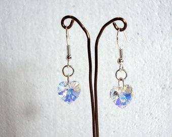 AB Crystal Heart Earrings - Swarovski Elements