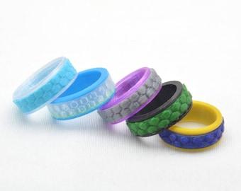 Spinner Fidget ring, Honeycomb Pattern - 3D printed, Customizable.
