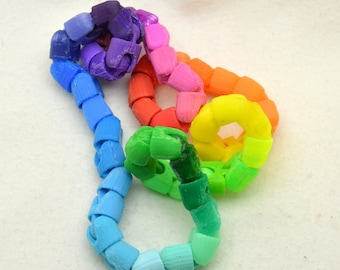Rainbow Snake wearable fidget : Ball jointed, customizable, 3d printed bracelet/toy