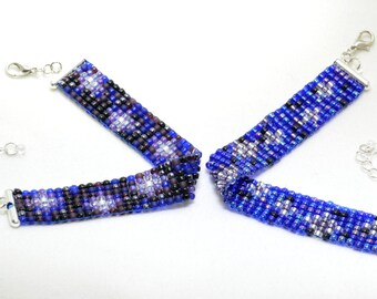 Night Sky Stars woven beaded bracelet (adjustable)