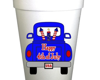 Fireworks Truck 4th of July Holiday Styrofoam Cups