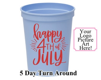 One Color Personalized Custom 16oz Stadium Cup-4th of July Party Cups-Fourth of July Personalized Stadium Cups 16oz Cups-Patriotic Cups