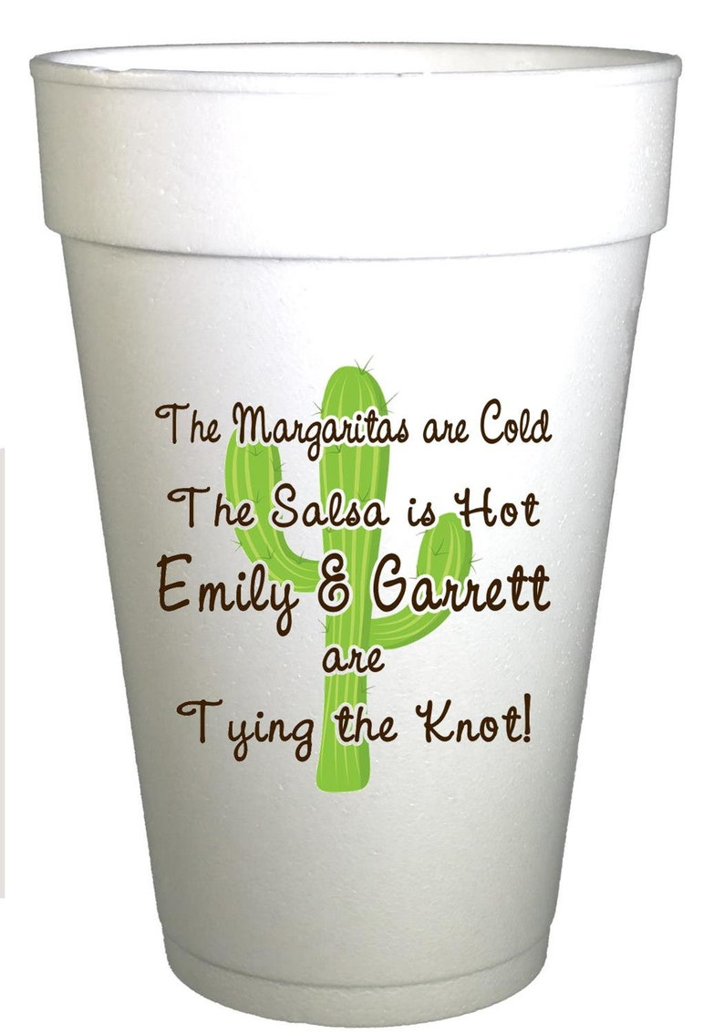 Cactus Cups wedding cups Bachelorette Party Cups,Personalized Foam Cups Fiesta Party Personalized Cups-medallion,Engagement Party Cups