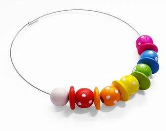 Rainbow Necklace - Rainbow Bead Choker  - Colourful Necklace with Spotty Wooden Beads - Colourful Jewellery - Wire Choker Necklace