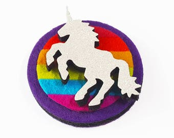 Unicorn Brooch - Rainbow Unicorn Pin - Felt Brooch with Rainbow Flag and Glitter Unicorn