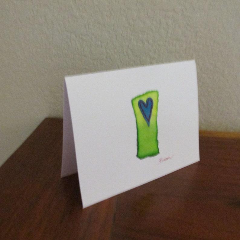 FREE SHIPPING in U.S. handmade card Valentine card original art colorful Valentine