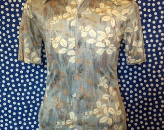 1970's floral disco shirt, small