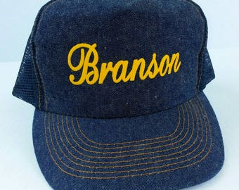 1980's Branson denim snapback trucker hat