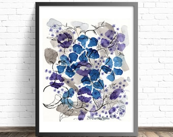 Watercolor Flower Print. Floral poster. Floral watercolor print. Abstract flowers. Floral print wall art. Floral painting print