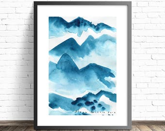 Turquoise print. Modern home decor. Abstract Mountain Print. Abstract watercolor print. Nature art print. Modern Art print. Wall posters