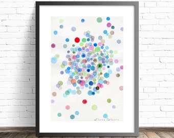 Watercolor print. Elemental particle happiness. Colorful modern wall art. Home decor wall art. Living room wall art. Modern home decor