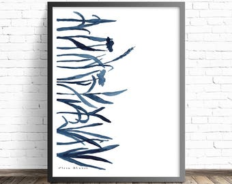 Contemporary wall art. Floral illustration Print. Indigo Watercolor Print. Modern Art Print. Watercolor art print. Modern abstract art
