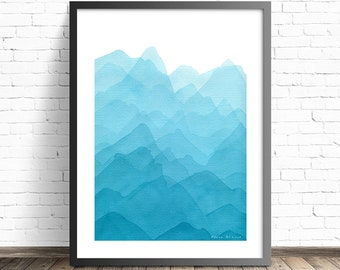 Blue Mountain Watercolor Print . Blue Nature Painting . Mountain Bedroom Art . Blue Bedroom Wall Art . Abstract Mountain Art