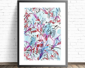 Floral painting print . Blue and red wall art . Abstract Floral Watercolor Wall Art . Wild Flowers Watercolor Print . Living room wall art
