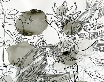 Abstract Floral Art Original . Line Drawing Black and White . Flower Painting