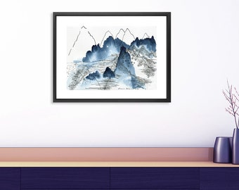 Mountain Abstract Landscape Print . Large Poster . Indigo Watercolor Art  Print . Modern Living Room Wall Art . Nature Lover Gift For Him