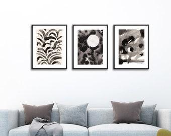 Black and White Art Set of 3 . Night Print Set of 3 . Abstract Art . Set of 3 prints . Black and White Living Room Decor