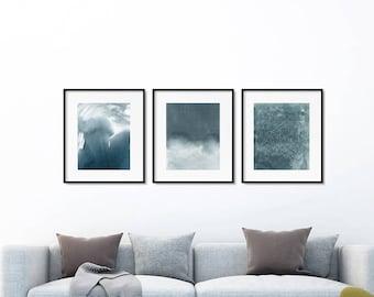 Grey art set of 3 prints. Watercolor set. Home decor wall art. Abstract art set. Minimalist Wall art. Print set. Grey wall art set