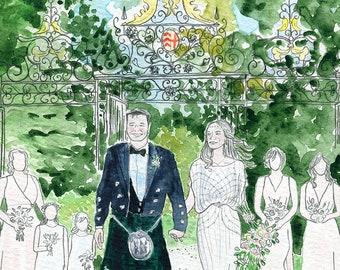 Wedding painting. Custom wedding portrait. Wedding watercolor. Custom anniversary gift. Watercolor painting custom illustration. Couple art