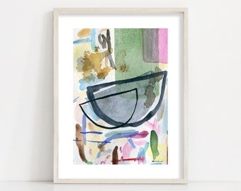 Mid century modern abstract watercolour art print // Living Room Wall Art // Kitchen Wall Decor // Large sizes up to 24x36'' / A1