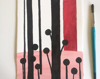 Black and red Art ORIGINAL ink painting / Minimalist abstract landscape / Dreamy Me Elena Blanco Wall Art .