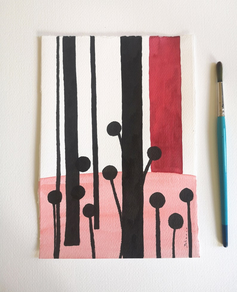 Black and red Art ORIGINAL ink painting / Minimalist abstract image 0