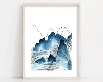 Mountains Print / Abstract Nature Watercolour Painting and Ink Line Drawing Home Decor for Living Room and Bedroom -Sizes up to 24x36'' / A1