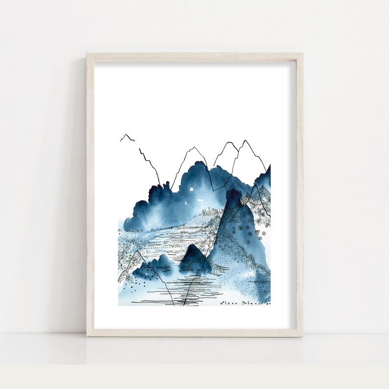 Mountains Print / Abstract Nature Watercolour Painting and Ink image 0