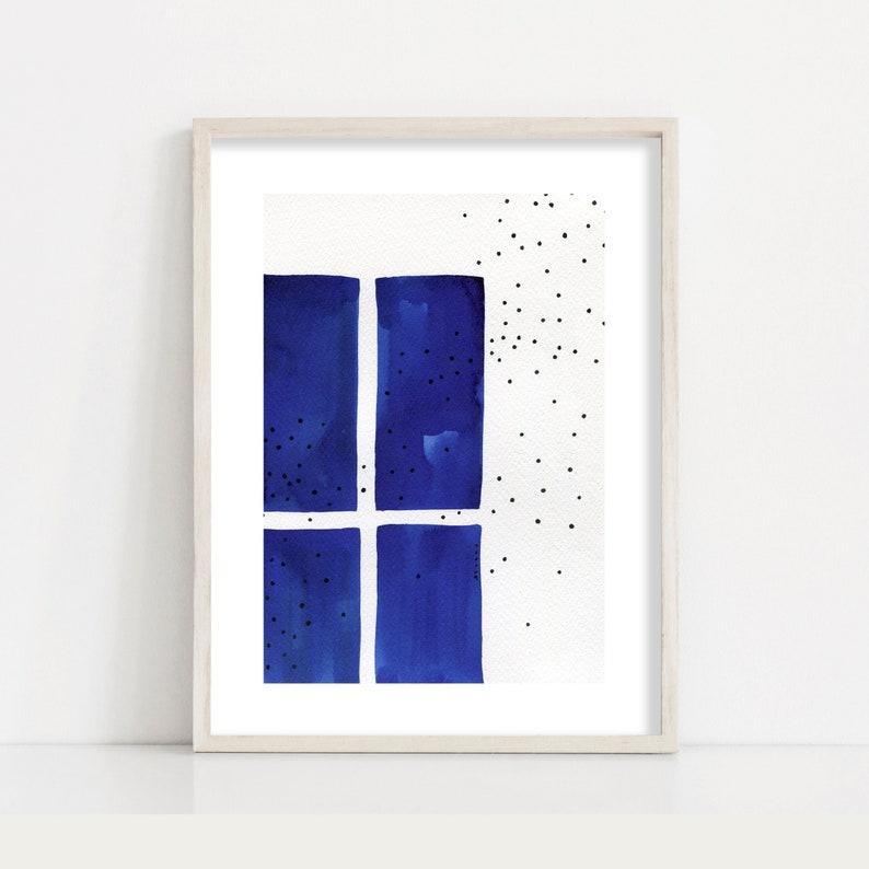 Blue Minimalist Abstract Window Art Print / Living Room Wall image 0
