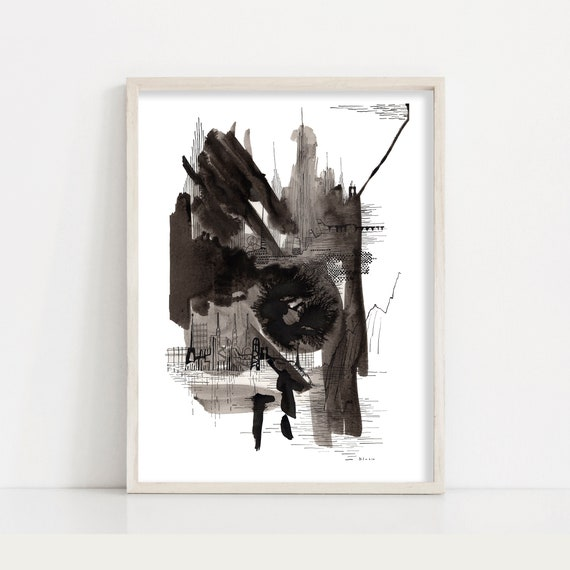 Cityscape Print Abstract Black And White Brush Stroke Painting Ink Drawing Wall Art
