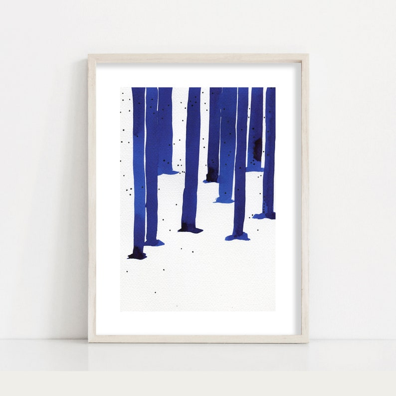 Minimalist Abstract Landscape Painting Forest Print // Bedroom image 0