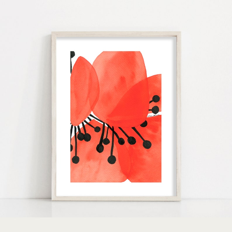 Red Flower Painting Modern Art Print / Abstract Floral Art / image 0