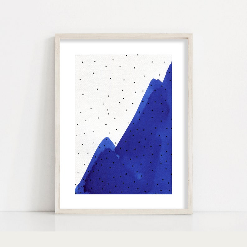 Navy Blue Abstract Painting Minimalist Mountain Print / Living image 0
