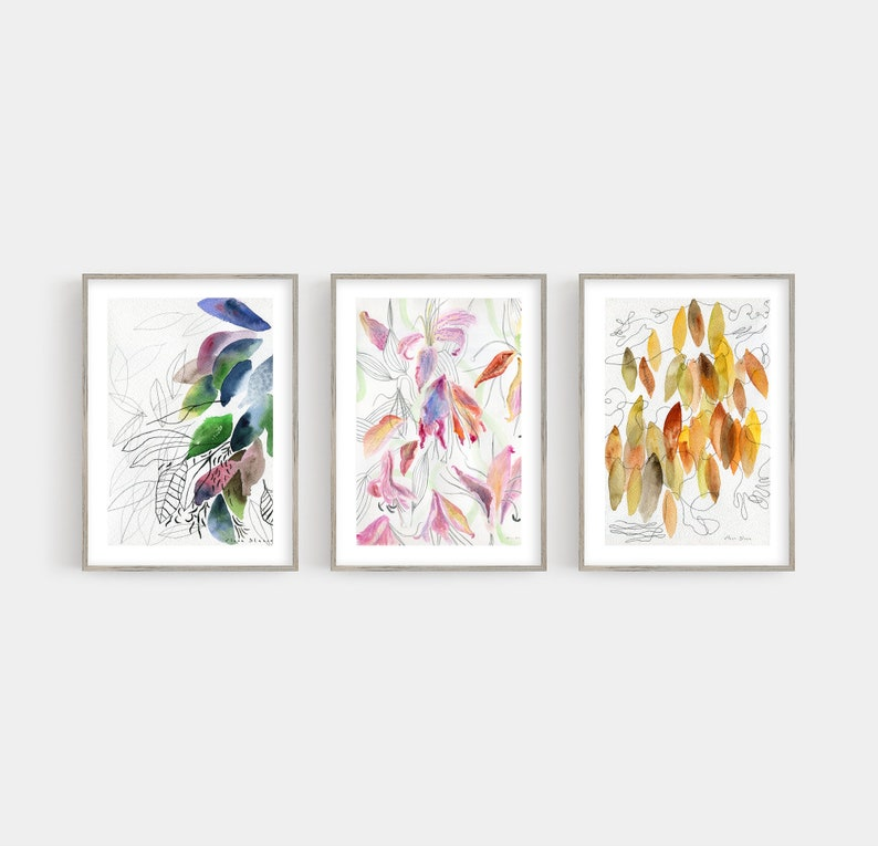 Abstract Leaves Illustration Art Set of 3 Prints / Living Room image 0