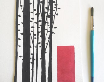 Black and red Minimalist Landscape ORIGINAL ink abstract painting / Dreamy Me Elena Blanco Wall Art /
