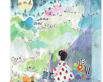 Custom Watercolor Portrait. Baby first birthday. Kids illustration. Childrens book art illustration. Custom watercolor illustration