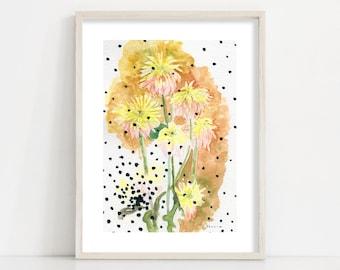 Ochre Yellow Floral Illustration Art Print / Modern Farmhouse Décor / Living Room Wall Art / Kitchen Wall Décor / Sizes up to 24x36'' / A1