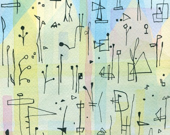 Mid century modern ORIGINAL Abstract Watercolour Painting // Unique art gift