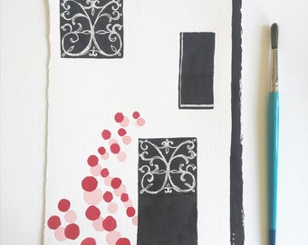 Minimalist Ink drawing ORIGINAL abstract painting / Black and red wall art by Dreamy Me Elena Blanco