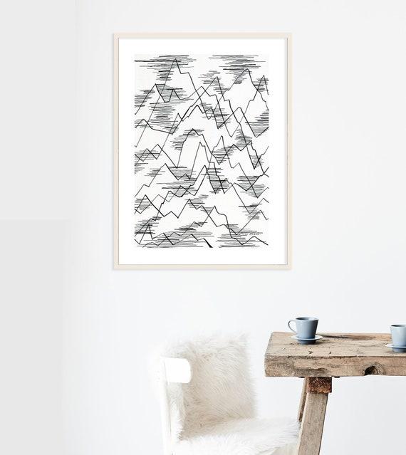 Montagne Line Art Impression De Dessin Minimaliste Imprime Etsy