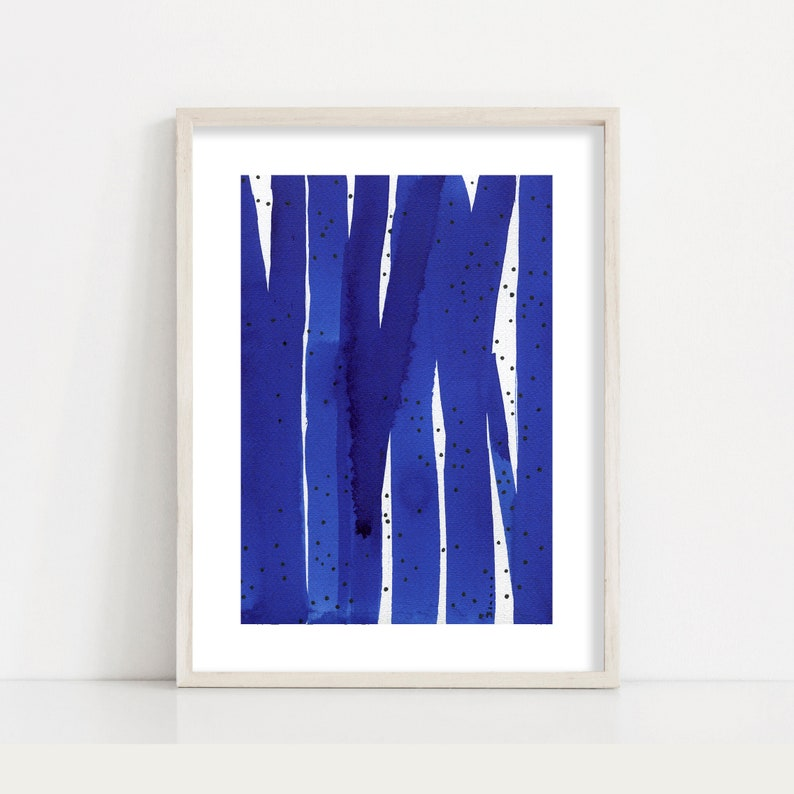 Navy Blue Abstract Landscape Painting Minimalist Print / image 0