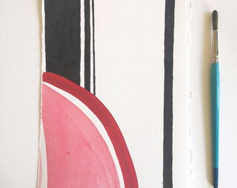 Minimalist Landscape ORIGINAL Abstract painting / Black and red wall art by Dreamy Me Elena Blanco