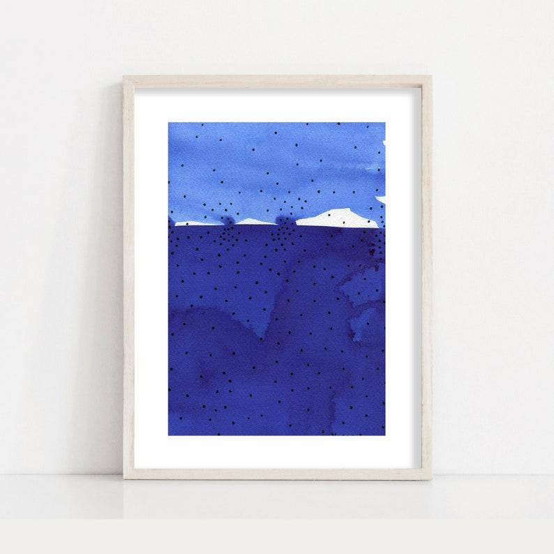 Navy Blue Abstract Minimalist Fine Art Print // Modern Home image 0