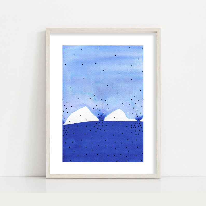 Blue Abstract Minimalist Painting Fine Art Print / Living Room image 0